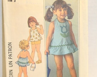 Simplicity 7553 sewing pattern, 1976 Toddler's Halter Dress or Top, Shorts and Bloomers Vintage Sewing Pattern, Size 3
