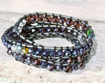4 Wrap Leather Bracelet, Swarovski Crystals, Chan Luu Inspired, Antique Button FREE SHIPPING!