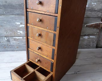Solid Wood 6 Drawer Apothecary Table Top Storage Organization Unit ~ 6 compartments inside drawers