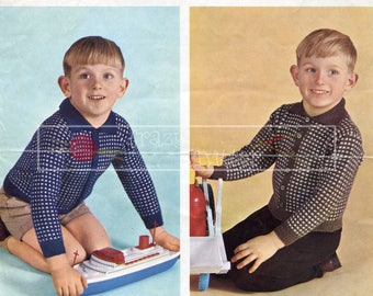 Boy's Cardigans 2-7 years 22-26in 4ply Patons 9460 Vintage Knitting Pattern PDF instant download