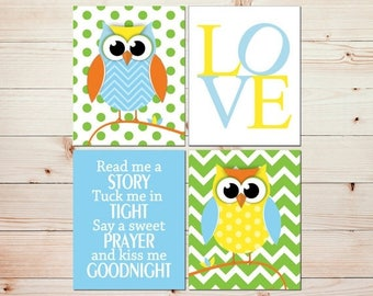 Baby Boy Nursery Art Gender Neutral Nursery Decor Owl Nursery Wall Decor Bright Colorful Nursery Prints Read Me A Story LOVE print  #0802