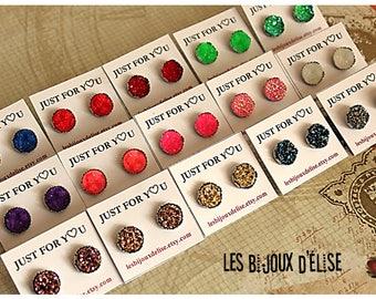 Sale - Faux Druzy Earrings Stainless Steel Settings Shiny Earrings Bridesmaid Gift - 14mm - Stainless Steel  (DRU02)