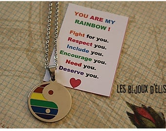 LGBT Necklaces - Yin Yang Rainbow Pendants - Stainless Steel (CO49)