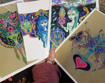 Rainbow Fairy Mermaid Butterfly Alien Goddess Print Pack Watercolor Visionary Psychedlic Art
