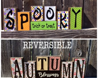 REVERSIBLE Halloween and Fall blocks- Spooky trick or treat reverese with Autumn blessings, thanksgiving blocks