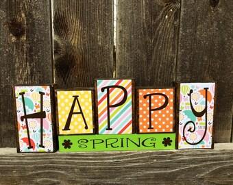 Spring wood blocks--Happy Spring blocks, Spring decor