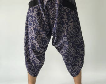 HC0265 Samurai Pants, Samurai Pants (Unisex) Elastic Waist ,Wave pants