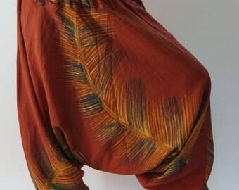 HC0472 Aladdin Pants, Harem Pants 100% Cotton Harem Pants Unisex Low Crotch Yoga Trousers