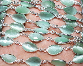 Sea Green Catseye Quartz Bezel Set Pear Chain, hydro Quartz Connector Chain, Chain Per Foot 13x8mm Bezel Chain - Chain 55AA63
