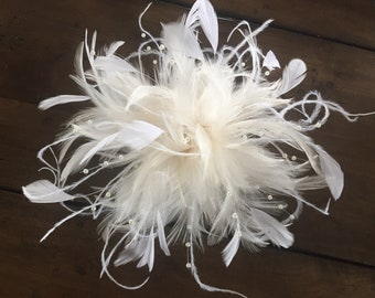 Ivory & White handmade in the USA Bridal Wedding Fascinator Feather Hair Clip Ostrich pearl