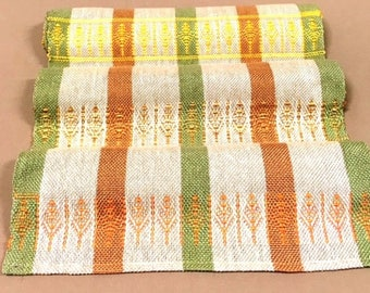 Tree Patterns on Table Runners, hand woven, one in each colorway