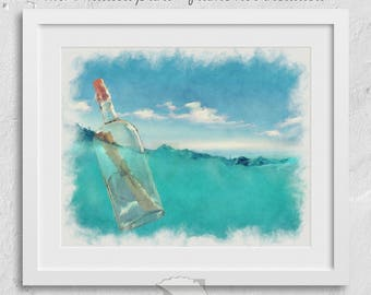 Message in a Bottle print, coastal wall art, ocean art, gifts under, gifts for her, coastal decor, vitaminsea, ocean print, salt life