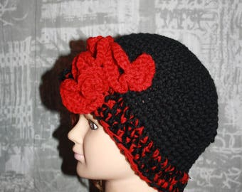 fancy Black Hat and Red