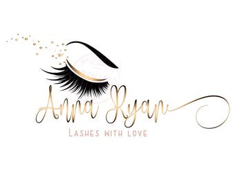 DIGITAL Custom logo design , lashes logo, lashes beauty logo, makeup logo, gold lashes logo design, gold beauty logo,  graphic design lashes