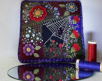 Handmade Spider Web Summer Garden and Roses Purple Spider Crazy Patch Needle Cushion