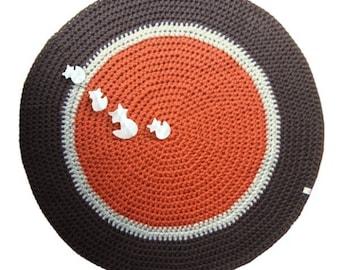 round mat non-slip, rust, beige, chocolate, foxes