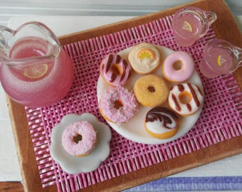 1:12 Scale Miniature Donuts on Tray w/ Pink Lemonade