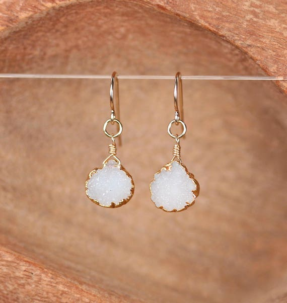 Druzy Earrings - raw crystal earrings / teardrop / drop earrings / dangle earrings
