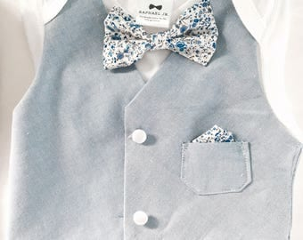 Blue bow tie and vest onesie with matching shorts/pants and optional matching bunny pageboy, wedding, christening
