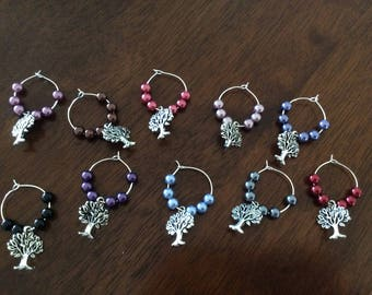 Wine Glass Markers Tree of Life Charm