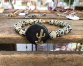 Brass Cactus Boho Neutral Beaded Bracelet - Black Horn Slice Bracelet - Southwestern Dalmatian Jasper Bracelet