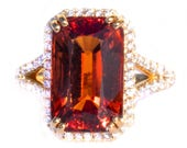 8.4 ct Mandarin Garnet & Diamond Designer 18K Ring