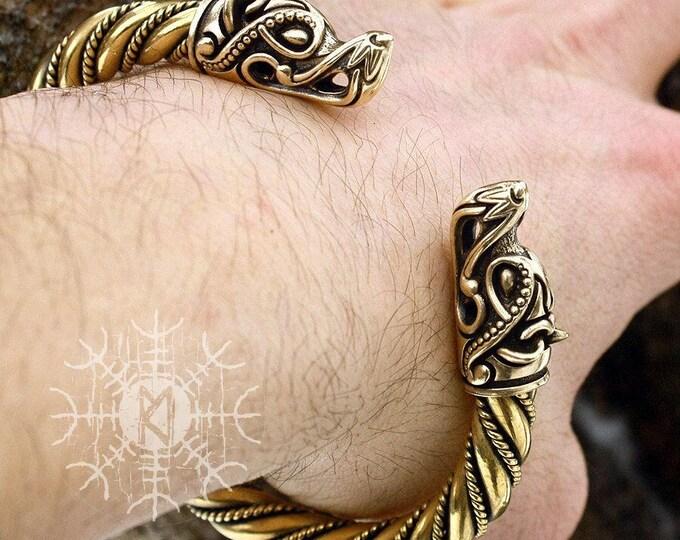 Bronze & Brass Wolf Heads Vikings Nordic Handmade Heavy Torc Twisted Wire Bracelet