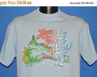XMAS in JULY SALE 80s Hawaii Here Today gone To Maui Rainbow t-shirt Large