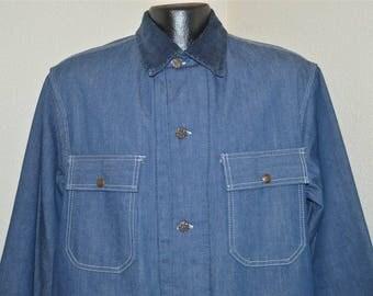 70s Sears Chore Blanket Lined Denim Railroad Jacket Large