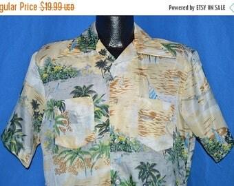 ON SALE 70s Island Beach Sailboat Aloha Hawaiian Shirt Medium