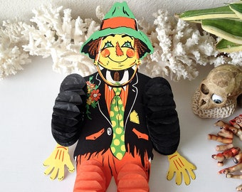 vintage tissue dancing scarecrow beistle halloween decoration hanging honeycomb tissue - Beistle Halloween Decorations