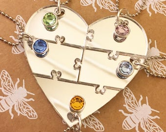 Best Friends 5 Piece Puzzle Heart Necklace Set BFF Sisters