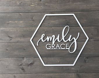 Personalized Hexagon Name Sign Cut Out - No Backboard, Wooden Name Sign, Custom Sign, Geometric Name Sign, Nursery Sign, Wedding Sign Unique