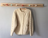 Vintage Ladies Cream Wool Hand-Made, Traditional Style Round Necked,  Buttoned, Raglan Sleeved Aran Cardigan