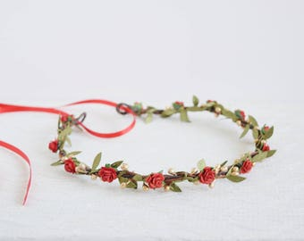Red Gold Green Flower Crown, leafy flower crown, red gold flower wreath, winter wedding, circlet, flowergirl garland, bridal flower crown