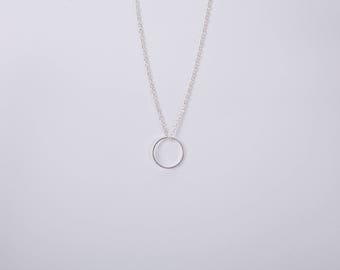 Silver Plated Necklace Ring Silver  Circle Necklace Minimal