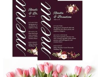 Marsala Menu, boho food menu, marsala wedding menu. Burgundy menu, floral wedding menu, digital menu card, long tea menu, marsala, dinner