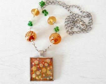 Yellow Pendant Necklace, Autumn Pendant, Dandelion Necklace, Orange Lampwork Jewellery, Floral Art Pendant, Autumnal Pendant. Art Jewelry