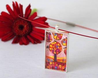 Autumn Tree Pendant Necklace, Handmade Floral Pendant, Burgundy Pendant, Brown Pendant, Naive Art Pendant, Art Jewellery