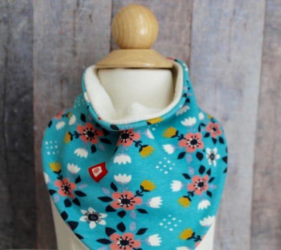 Girl's Turquoise Floral Organic Baby Scarf Bib, Bandana Bib, One Size Bib,  Baby Girl Clothing, Baby Clothes, , Ready To Ship