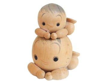 Precious Pair of Baby Kokeshi Dolls. Vintage Kokeshi. Japanese Doll. Kokeshi. Japanese Kokeshi Doll. Vintage Kokeshi. Japan. Baby. Wood Doll
