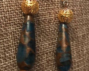 Aquamarine and pyrite teardrop earrings with gold plated beads