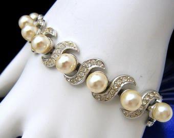 Crown Trifari Vintage Bracelet Lustrous Faux Pearl Rhinestones Silver Tone