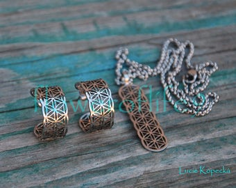 Flower of life earrings + necklaces - Stainless Steel