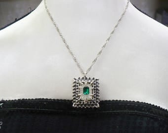 OOAK Vintage Authentic Art Deco Camphor Glass w/Emerald GREEN Rhinestone Center Pendant Necklace -silver tone-adjustable-frosted glass-Irish