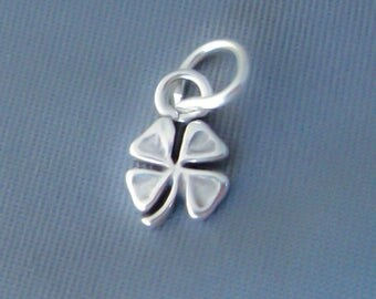 1 Sterling Silver Small Four Leaf Clover, Shamrock Charm, Mini, Made in USA