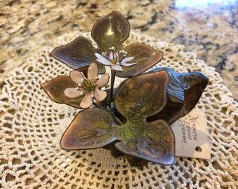 Gorgeous hand crafted metal and wood art sculpture. Brumm. White hepatica.