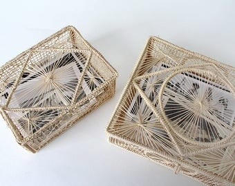 Set of 2 Vintage Woven Straw Curio Basket Boxes