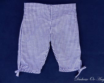 Navy and white gingham cotton kids Capri pants - 3 years