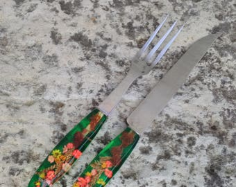 French Carving knife and fork with perspex/plastic/lucite flower encased handles